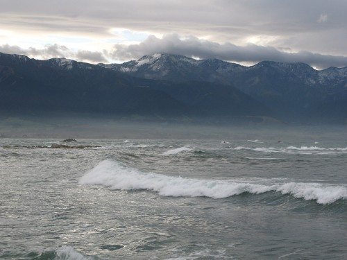 Kaikoura Mountains and the Pacific Ocean
